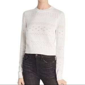 rag & bone Sweaters - rag & bone White Perforated Crop Sweater